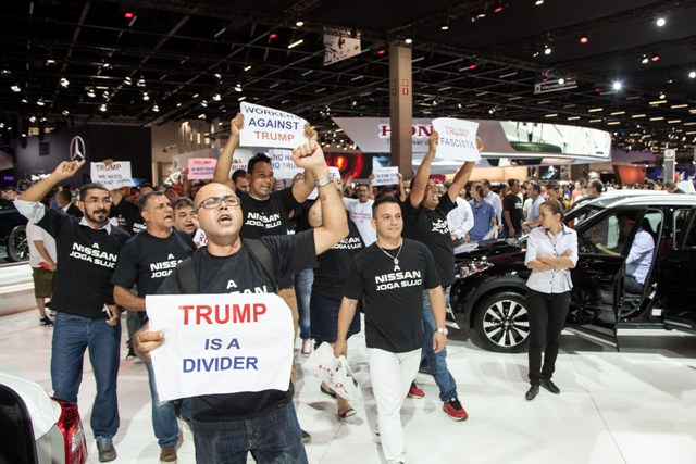 Sindicalistas protestam contra a Nissan