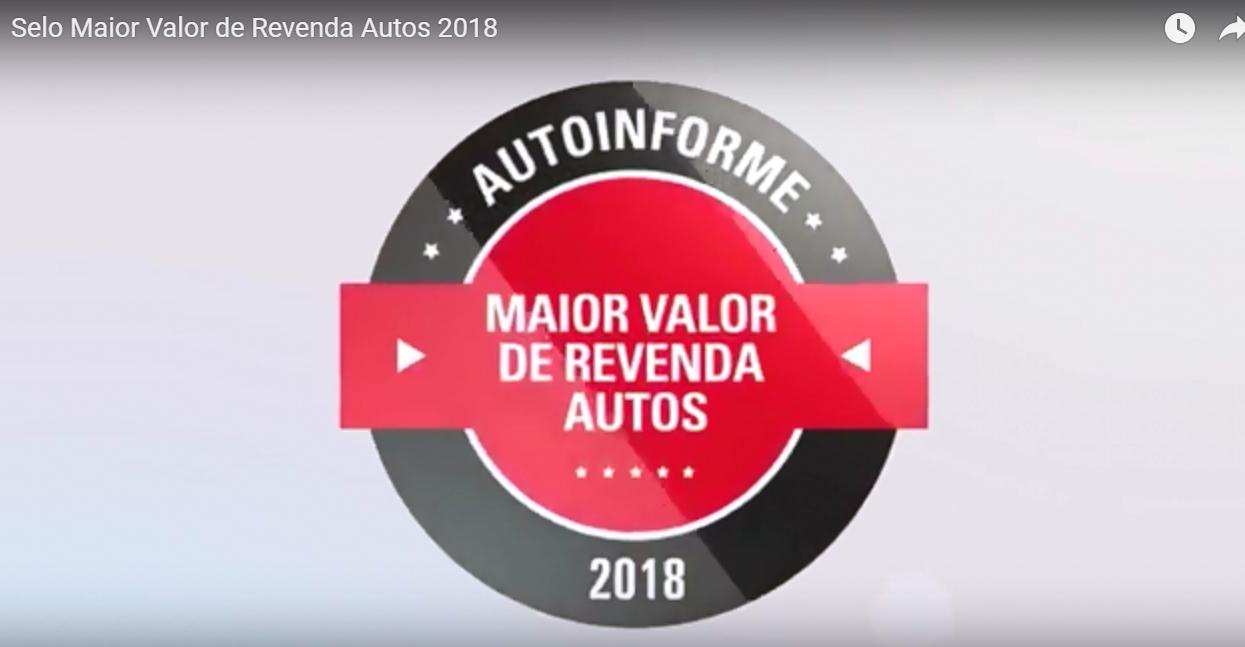 Selo Maior Valor de Revenda Autos 2018